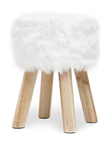 Suhu Fell Hocker Pouf Hocker Sitzhocker Sofa Puff Hocker Kleiner Fußbank Rund aus Massivholz Weiß