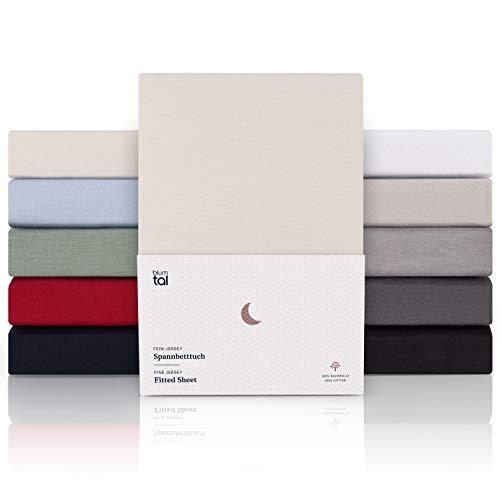 Blumtal Premium Spannbettlaken 90x 200 - Superweiches 100% Baumwolle Spannbetttuch, bis 25cm Matratzenhöhe, Elfenbein