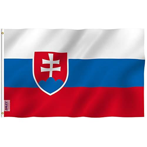 ANLEY Fly Breeze 3x5 Feet (90x150 cm) Slowakije Vlag - Levendige Kleur en UV Vervagend - Canvas Kop en Dubbel Gestikt - Vlaggen van de Slowaakse Republiek Polyester met Messing Grommets 3 X 5 Ft