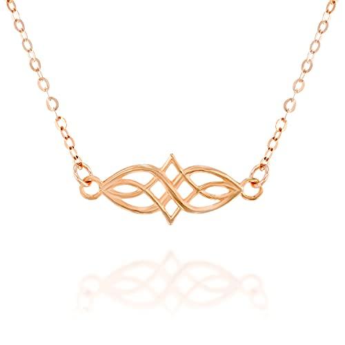 Rose Gold Celtic Knot Choker Necklace - Designer Handmade Short Necklace13.5 inch + 3 inch Extender