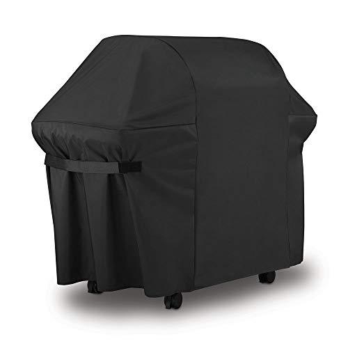 Essort Cubierta Barbacoa Impermeable, Toalla Protección para BBQ Grill Protección UV, Grill Ropa de la Cubierta con Funda para Parrilla de Gas Weber Genesis Serie 300, 153 × 72 × 112 cm, Negro