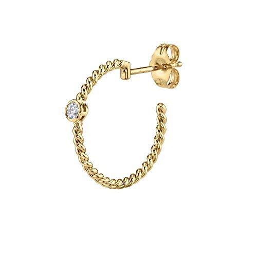 CHIY-GBC 925 Plata 19mm Big Twist Hoop Pendiente 19mm Loop Round Circle Mujeres Cz Crystal Punk Rock Fashion Jewelry