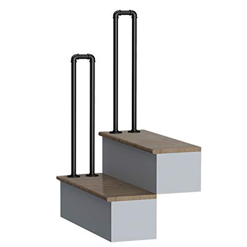 Home mall Pasamanos de escaleras para interiores y exteriores, pasamanos de escalones galvanizados de hierro forjado negro en forma de U de estilo industrial, valla anticaí(Color:NEGRO,Size:hi