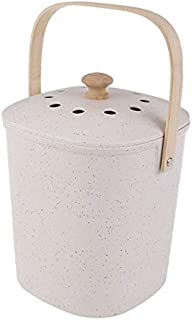 Biodegradable Bamboo Compost Bin Waste Composter Food Recycling Trash White 3.8L