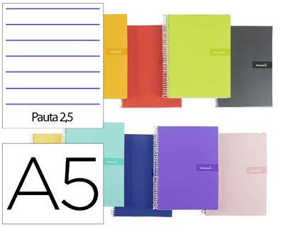 Cuaderno espiral liderpapel a5 crafty tapa forrada 80h 90 gr pauta estrecha 2,5mm con margen colores surtidos. (5 Unidades)