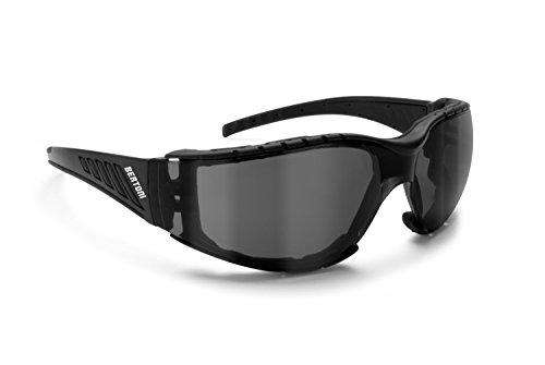 Bertoni Occhiali da Moto Antivento Avvolgenti con Lente Infrangibile Antiappannante - Spugna Antivento Removibile - AF149C