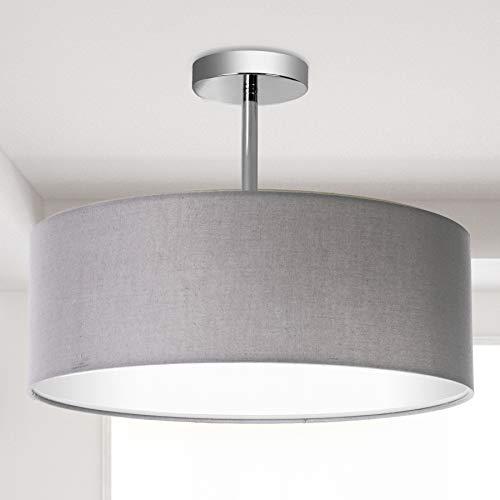 Deckenleuchte, Stoff Deckenlampe, Grau Rund Pendelleuchte für Wohnzimmer Schlafzimmer Küche Esszimmer, Durchmesser 45cm, Chrom matt, Warmweiss 3-flammig E27