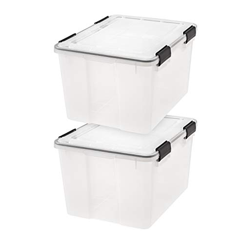 IRIS USA, Inc. UCB-SD WEATHERTIGHT Storage Box, 46.6 Quart, Clear, 2 Pack