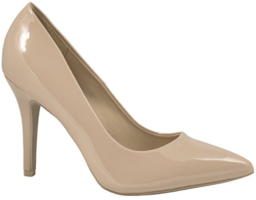 Elara Spitz Damen Pumps Stiletto High Heels chunkyrayan JA70-Beige-39