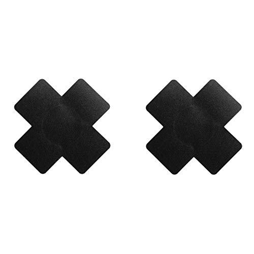 Bye Bra X Brustwarzenabdeckung, Selbstklebend, Einwegartikel Kreuzform Pasties, Brustblätter in Schwarz, Ein Paar, Einheitsgröße