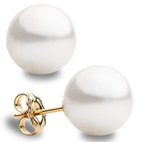 Pendientes de Perlas Redondas Cultivadas Australianas Blanca