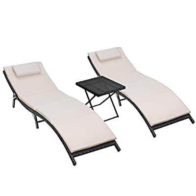 Homall 3 Pieces Patio Lounge Chair Outdoor Chaise Lounge Chair Patio Furniture Set Portable and Folding PE Rattan Furniture Set with Table and Cushion