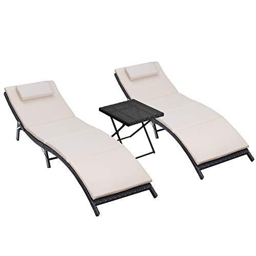 Homall 3 Pieces Outdoor Lounge Chair Patio Chaise Lounge Sets PE Rattan Lounge Chair with...