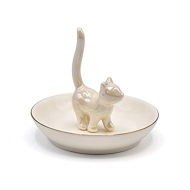 ROSA&ROSE Ivory White Kitty Jewelry Tray Ceramic Trinket Dish Porcelain Ring Holder