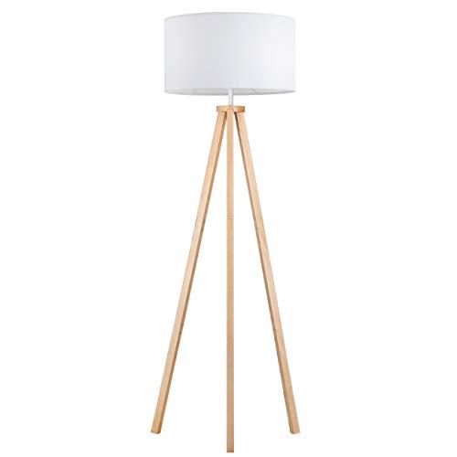 Tomons Stehlampe LED Dimmbar aus Holz Dreibein, Skandinavischer Stil, Moderne Standleuchte für Wohnzimmer, Schlafzimmer, Arbeitszimmer, Hotel und Büro, Weiß