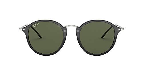 Ray-Ban Unisex Rb 2447 Sonnenbrille, Mehrfarbig (Gestell: Schwarz/Silber, Gläser: Polarized Grün Klassisch 901/58), Medium (Herstellergröße: 49)