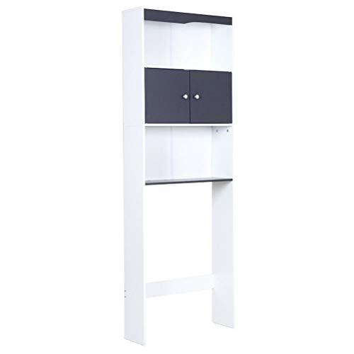 CZ-ING Badregal Hochschrank - Waschmaschinenschrank 2 Türen Fach Schrank für Waschmaschinen Umbauschrank (Grau)