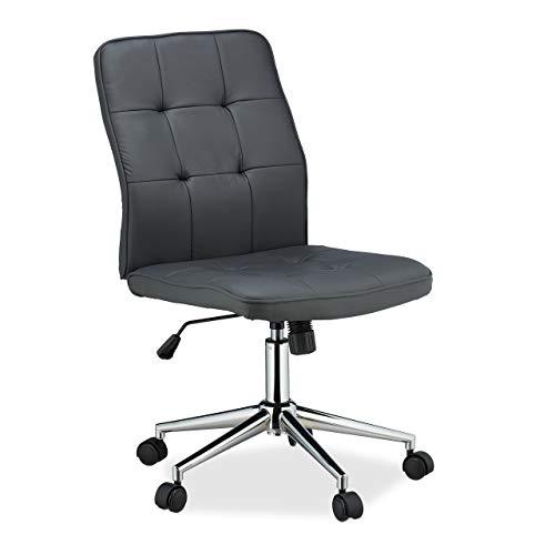 Relaxdays Bürostuhl, höhenverstellbar, ergonomisch, Rollen, Gasdruckfeder, Kunstleder, 100 kg, Schreibtischstuhl, grau