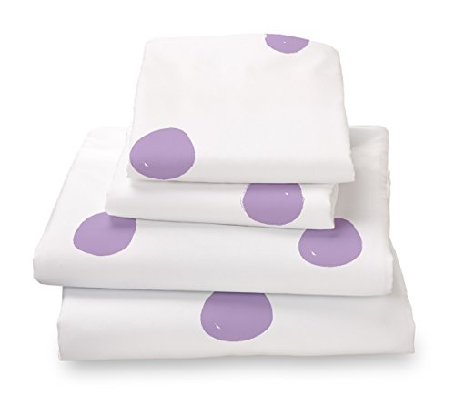 Lilac Polka Dot Full Size Sheet Set, Soft Sheets for Deep Matresses, 4 Pieces Full Size Set in White and Purple