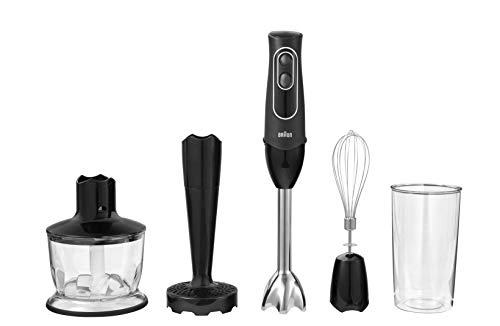 Braun 4-in-1 Immersion Hand Blender, Powerful 350W Stainless Steel Stick Blender, Multi-Speed + 2-Cup Food Processor, Whisk, Beaker, Masher,, Easy to Clean, Black, MultiQuick MQ537BK