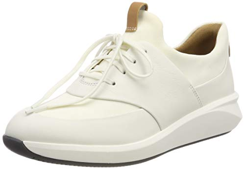 Clarks Un Rio Lace, Zapatos de Cordones Derby Mujer, Blanco (White Leather-), 38 EU