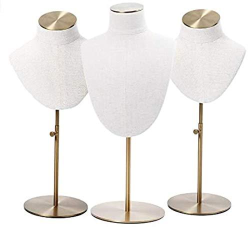 Maniquí Ajustable Exhibición de la joyería de lino blanca de la joyería soporte de exhibición del collar sostenedor de la exhibición del busto de exhibición del collar del collar del cuerpo del maniqu