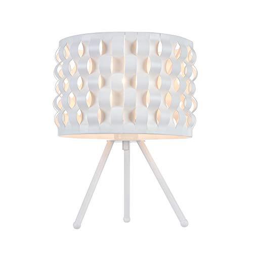 Lampe à poser, lampe de table, lampe de chevet, style Moderne, Art Deco, Armature en metal couleur blanc, Abat-jour en metal couleur blanc, ampoule excl, 60 W E27 220V -240V