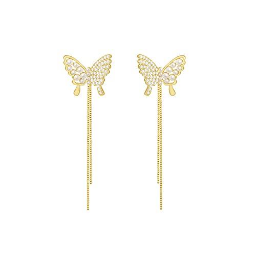 S925 Aguja de plata Diamante Perla Mariposa Borla Pendientes de personalidad Temperamento Pendientes simples Pendientes de moda Pendientes