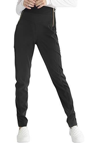 HeartSoul Women Scrubs Pant Natural Rise Skinny Leg Pull-on HS006, S, Black