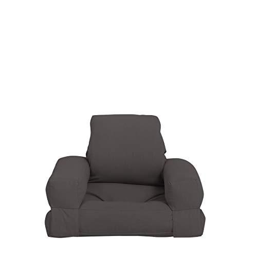 Karup Design Mini Hippo Kindersessel |Kinderstuhl Futonsessel und Kinder Bett für die Jugendzimmer | Kindermöbel in 7 Farben auswählbar| Farbe Dunkel Grau | Spielen Enspannen Wiederholen.