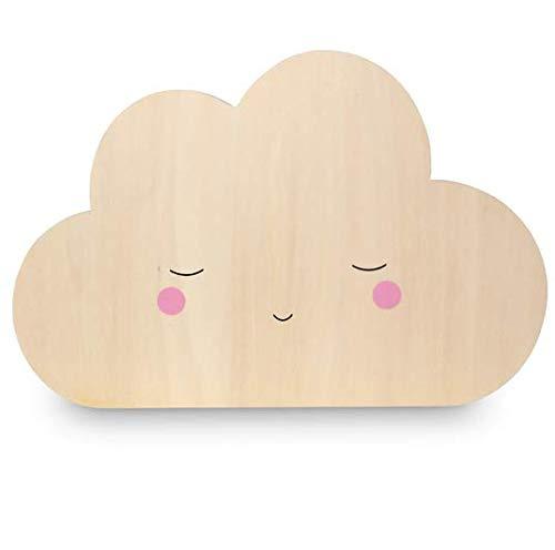 Teeny & Tiny nachtlampje voor de kinderkamer van berkenhout, LED, met transformator, wolk - 200 g