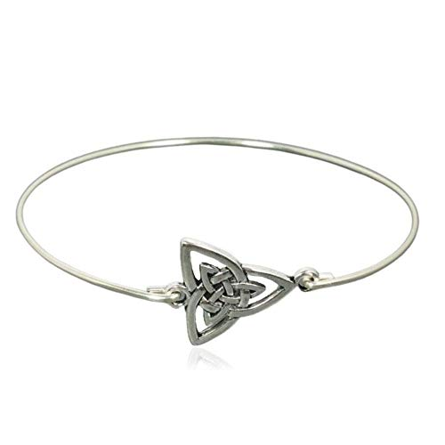 Sterling Silver Filled Celtic Triquetra Trinity Knot Charm Bangle Bracelet, 8'