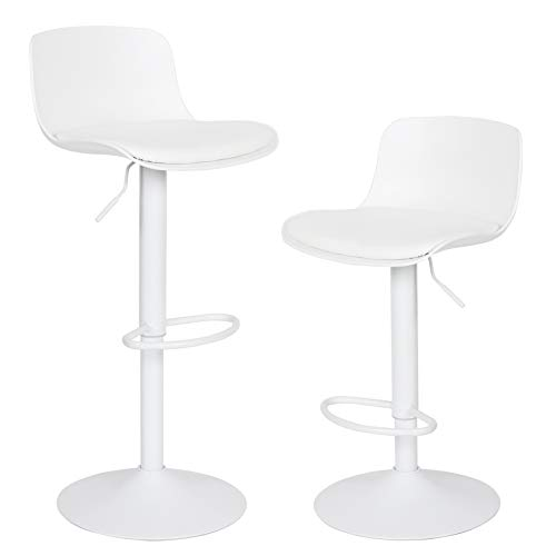 YOUNIKE Furniture Modern Design BarStools with Adjustable Height and 360° Rotation,Ergonomic Streamlined Polypropylene High Bar stools for Bar Counter, Kitchen and Home (Set of 2, White)