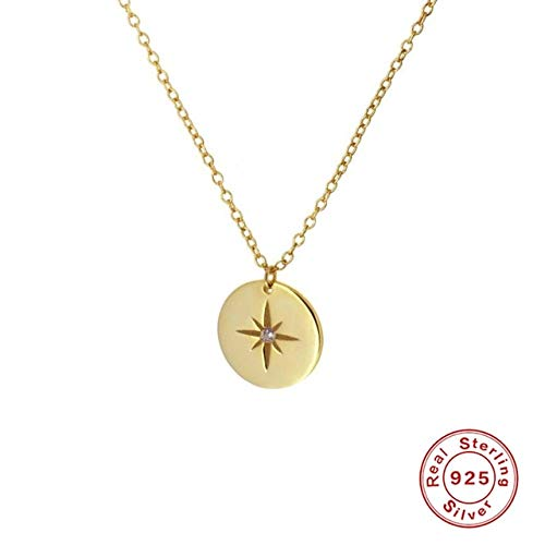 925 Sterling Silver Necklace For Women Jewelry Round Card Eight-pointed Star Geometric Eyes Chain Choker Necklace A