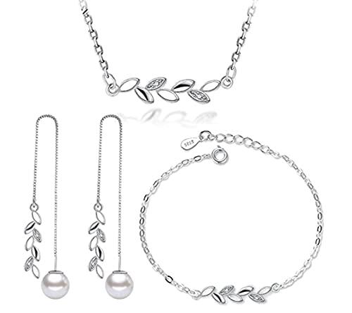 GJPSXTY Conjuntos de Joyas Simples de Plata de Ley 925 Collar de circonita de Hojas de Rama + Pendientes + Pulsera para Mujer Regalo de niña