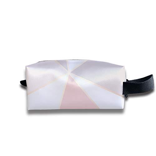 Or rose miroir géométrique motif voyage maquillage étui cosmétique, étui à brosses portable trousse de toilette trousse de voyage organisateur sac cosmétique