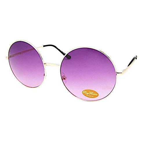 Chic-Net Hochwertige Sonnenbrille rund Glamour golden XL Oversize John Lennon getönt 400UV Vintage pink
