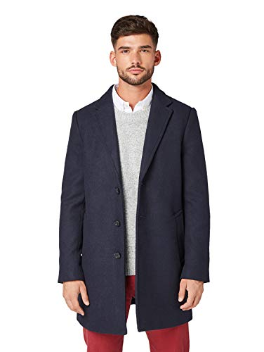 TOM TAILOR Herren Klassischer Woll Mantel, Blau (Sky Captain Blue 10668), XXL