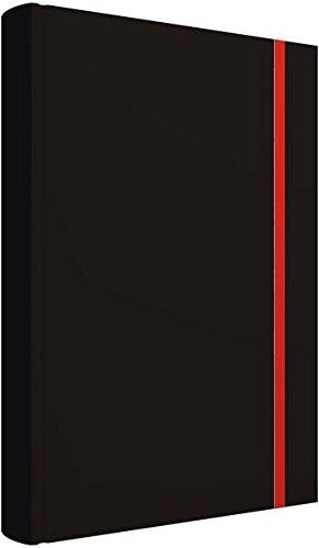 Notizbuch: Edles Notizbuch, blanko, 2 Lesebändchen, Tasche für Visitenkarten, verschließbar mit Gummizug: Edles Notizbuch schwarz