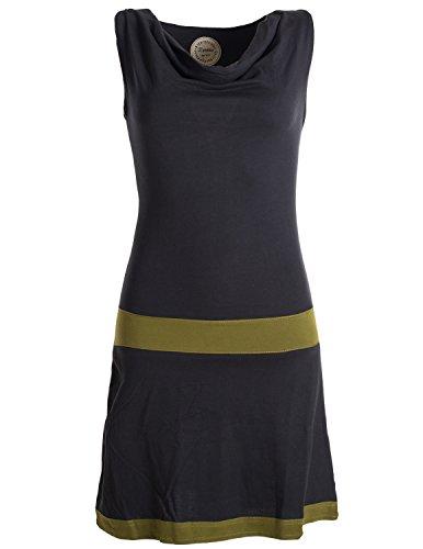 Vishes - Alternative Bekleidung - Ärmellose Tunika aus Biobaumwolle mit Wasserfallkragen schwarz 40-42 (L)