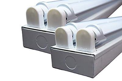 ORILIS White 1-Pack, 2-Pack, 5-Pack, 10-Pack - 8 Ft 4 Light LED Commercial Flush Mount T8 Lighting Fixture Kit - 5000K Daylight with (4) 4 Ft LED Tubes Included