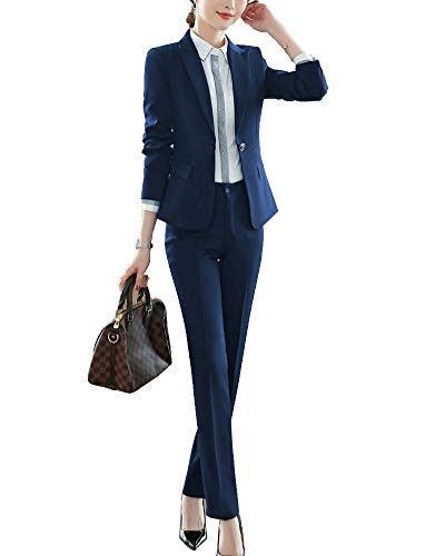 ShiFan Tailleur Donna Elegante Cappotto Ufficio Business Blazer Top Corto Ol Giacca da Abito Blu 2 L