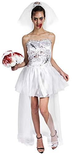 Gojoy shop- Disfraz de Novia Cadáver para Mujeres Halloween Canaval (Contiene Vestido y Velo, Talla Unica)