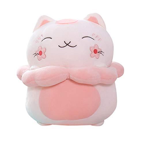 HONGYMY Juguete Cherry Blossoms Cat Peluche Muñeca Anime Animales Rellenos Juguetes Mini Pink Kitty Bolsa Almohada para Niños Baby Party Cumpleaños Regalo Toy (Color : 28cm Doll)