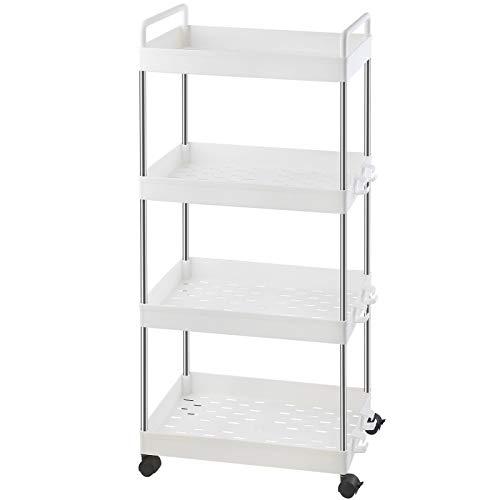 Ronlap Carrito de almacenamiento clásico de 4 niveles, estantería móvil con asa, carrito de utilidad deslizable, torre organizadora de almacenamiento para cocina, baño,...