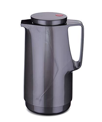 ROTPUNKT Isolierkanne 760 Maxima 1,0 l | Zweifunktions-Drehverschluss | BPA-frei - gesundes Trinken | Made in Germany | Warm + Kalthaltung | Glaseinsatz | Titan