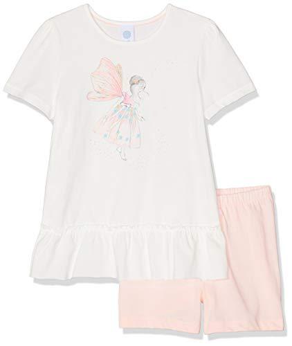 Sanetta Mädchen Pyjama Short Zweiteiliger Schlafanzug, Beige (Broken White 1427), 92 (Herstellergröße: 092)