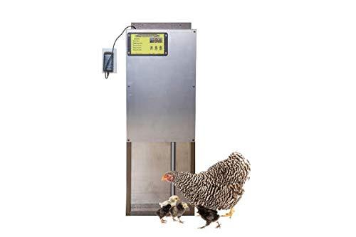 OverEZ Automatic Chicken Coop Door with Motor & Timer | Heavy-Duty Predator Resistant Chicken Door with Auto Pop Door Opener Fits OverEZ Coops & Others– Poultry Coop Accessories, Made in USA, Aluminum