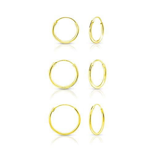 DTP Silver - Conjunto de 3 Pendientes de Aro - Plata 925 - Plateada en Oro Amarillo 18 K - Espesor 1.2 mm, Diámetro 14, 16, 18 mm