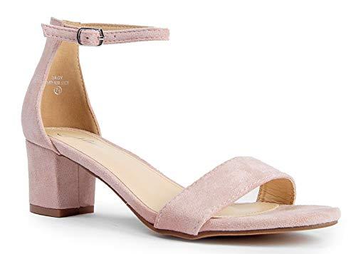 J. Adams Daisy Mid Heel Sandal, Dusty Rose Suede, 11 B(M) US